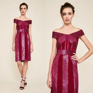 NWT Tadashi Shoji Womens Velvet Sequined Dress.